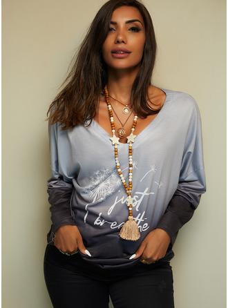 Dandelion Figure Print Gradient V-Neck Long Sleeves Casual T-shirt