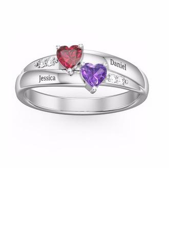 Sterling Silver Cubic Zirconia Brithstone Dainty Heart Cut Promise Rings Custom Rings -