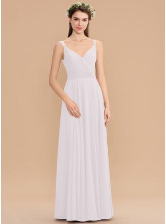 Corte A Decote V Longos Tecido de seda Vestido de madrinha com Pregueado