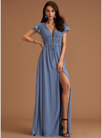 V-neck Slate Blue Floor-Length Chiffon Dresses