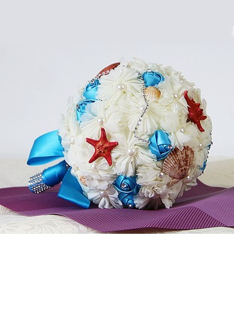 Special Round Satin/Venetian Pearl/Imitation Pearl Bridal Bouquets -