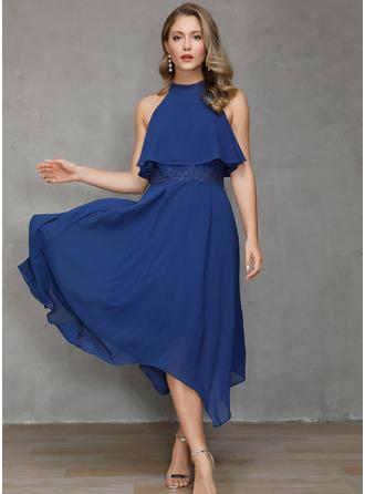 Lace Solid A-line Cold Shoulder Sleeve Asymmetrical Little Black Party Skater Dresses