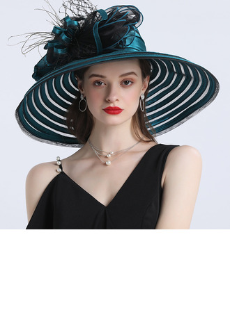 Ladies ' Hotteste/Romantisk Polyester med Silke Blomst Strand / Sun Hatte/Tea Party Hats