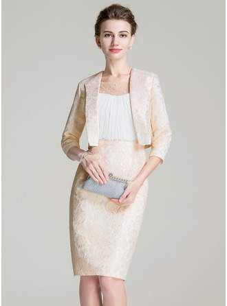 Sheath/Column Scoop Neck Knee-Length Chiffon Lace Mother of the Bride Dress With Ruffle Beading Sequins