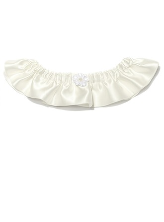 Chic Satin With Beading Wedding Garters