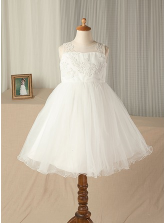 A-Line/Princess Knee-length Flower Girl Dress - Satin/Tulle/Lace Sleeveless Scoop Neck