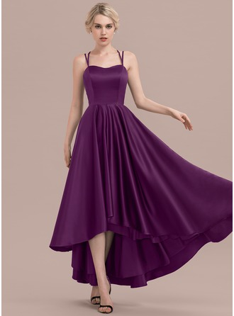 A-Line/Princess Sweetheart Asymmetrical Satin Bridesmaid Dress