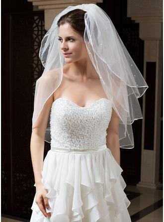 Dreischichtig Ellenbogen Braut Schleier mit Band Rand