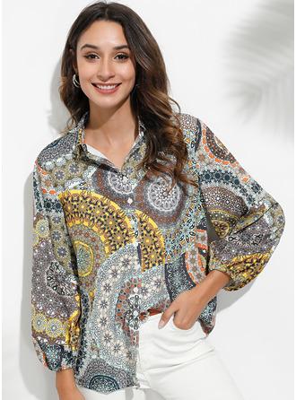 Print Long Sleeves Polyester V Neck Shirt Blouses Blouses