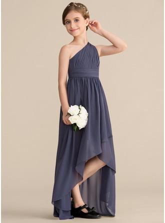 Corte A Um ombro Assimétrico Tecido de seda Vestido de daminha júnior com Pregueado