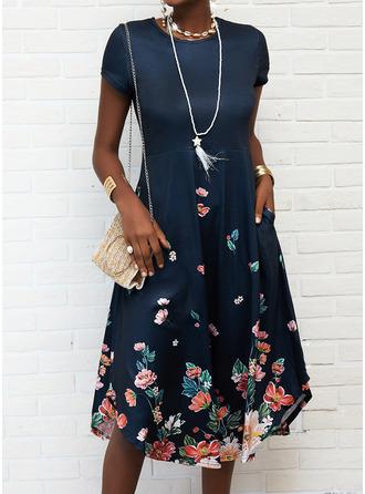 Floral Print Shift Short Sleeves Maxi Casual Vacation Dresses