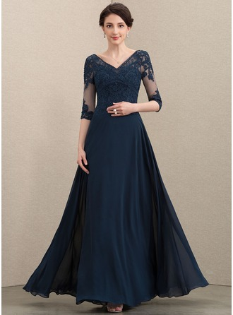 A-Line V-neck Floor-Length Chiffon Lace Mother of the Bride Dress With Beading