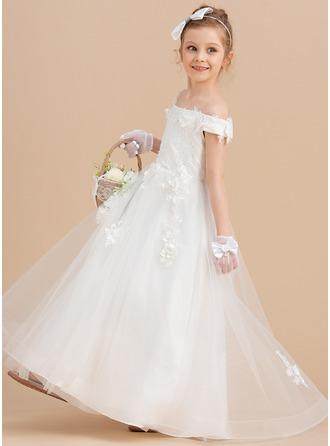 Plesové/Princesový Dlouhá vlečka Flower Girl Dress - Tyl/Krajka Bez rukávů Off-the-rameno S Květiny