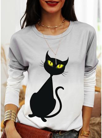 Animal Print Tie Dye Halloween Round Neck Long Sleeves Sweatshirt