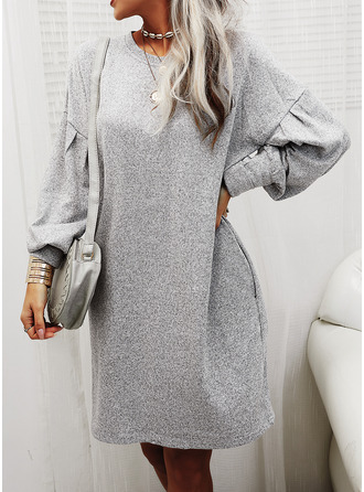 Solid Shift Long Sleeves Midi Casual Tunic Dresses