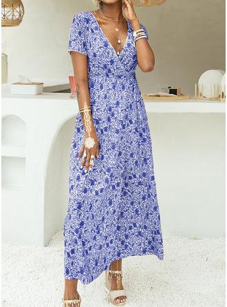 Kwiatowy Nadruk Sukienka Trapezowa Krótkie rękawy Maxi Nieformalny Wakacyjna Łyżwiaż Modne Suknie