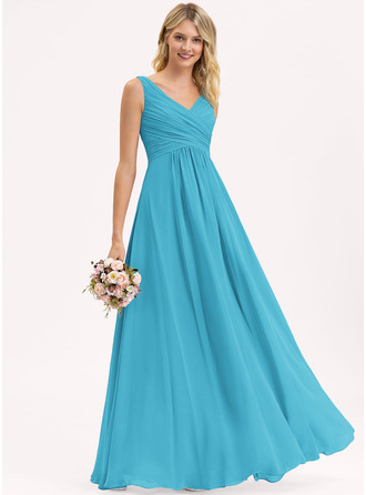 A-Line/Princess V-neck Floor-Length Chiffon Bridesmaid Dress With Ruffle