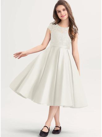 A-Linie U-Ausschnitt Knielang Satin Spitze Kleider für junge Brautjungfern mit Taschen