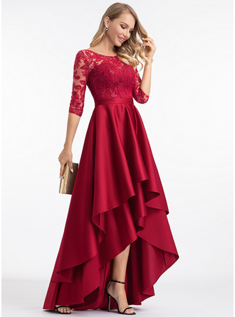 A-Line Scoop Neck Asymmetrical Satin Evening Dress With Sequins