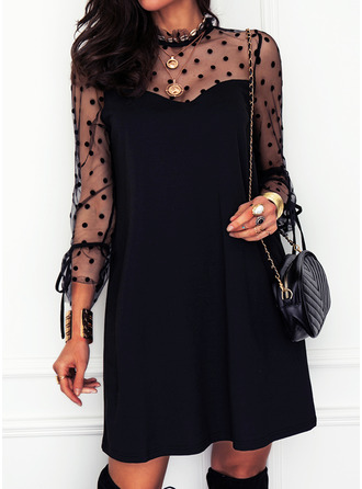 PolkaDot Solid Shift Long Sleeves Mini Little Black Elegant Tunic Dresses