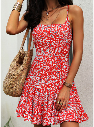 Blommig Print A-linjeklänning Ärmlös Mini Fritids Sexig skater Typ Modeklänningar