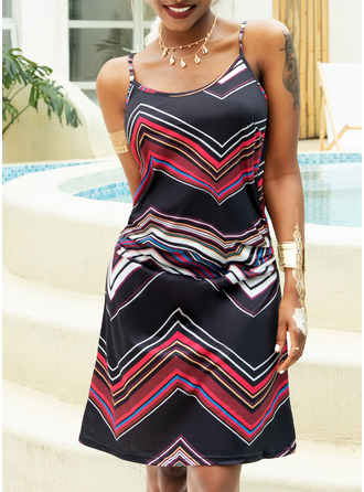 Print A-line Sleeveless Mini Casual Type Dresses