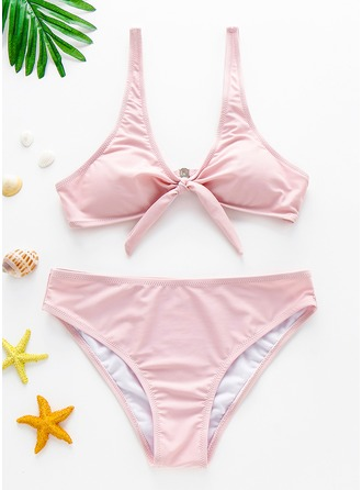 Fashionable Solid Color Polyester Spandex Bikinis Swimsuit