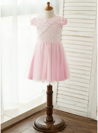 A-Line/Princess Knee-length Flower Girl Dress - Satin/Tulle/Lace Short Sleeves Scoop Neck With Beading