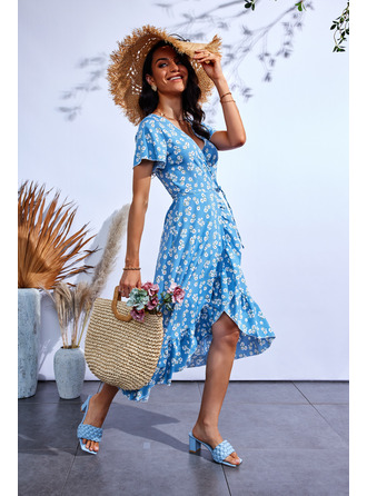 Bloemen Print A-lijn-jurk Korte Mouwen Medium Casual schaatser ()
