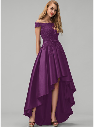 A-Line Off-the-Shoulder Asymmetrical Satin Prom Dresses With Lace Beading Sequins Bow(s)