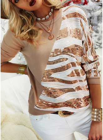 Round Neck Casual Sequins Sweaters