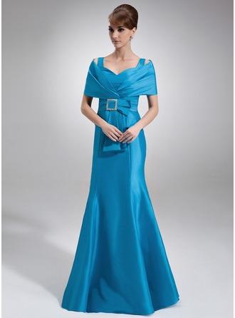 Trompete/Meerjungfrau-Linie Schulterfrei Bodenlang Taft Kleid für die Brautmutter mit Rüschen Perlen verziert