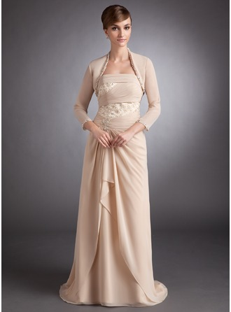 A-Line/Princess Strapless Sweep Train Chiffon Mother of the Bride Dress With Lace Beading Cascading Ruffles