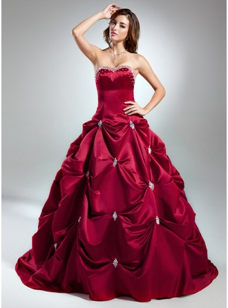 Ball-Gown Sweetheart Chapel Train Satin Prom Dress With Beading