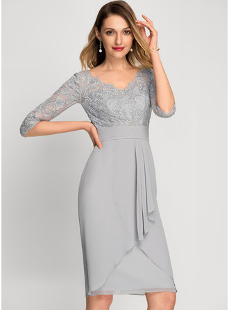 Sheath/Column V-neck Knee-Length Chiffon Cocktail Dress With Beading Sequins