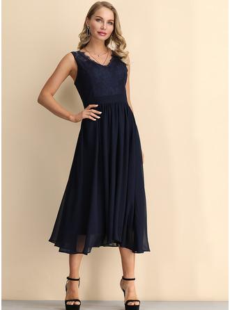 Lace Solid A-line Sleeveless Midi Party Vintage Elegant Skater Dresses