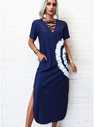 uvázat barvivo Šaty Shift Krátké rukávy Maxi Neformální Módní šaty