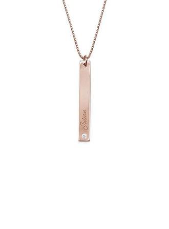 Personalizado Chapado en oro rosa de 18 k Collar con nombre Collar de la barra Collar grabado