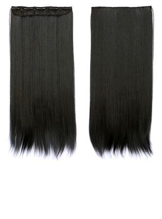 Derecho Pelo sintético Extensiones de cabello con clip (Vendido en una sola pieza) 130g