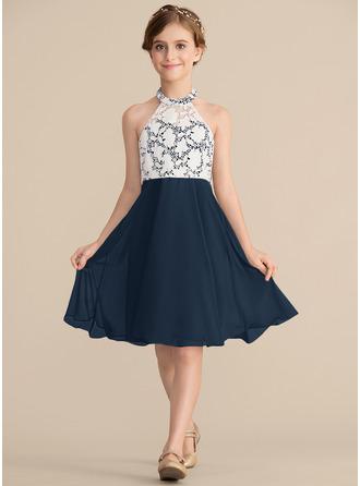 A-Line/Princess Scoop Neck Knee-Length Chiffon Lace Junior Bridesmaid Dress