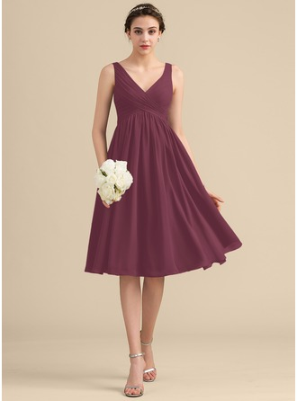 Empire Halter V-neck Knee-Length Chiffon Homecoming Dress With Cascading Ruffles