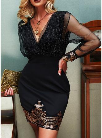 Paljetter Solid Åtsittande Långa ärmar Mini Party Elegant Modeklänningar