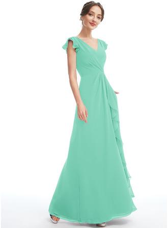 A-Line V-neck Floor-Length Bridesmaid Dress With Ruffle Pockets
