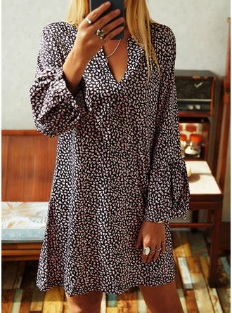 Print Shift Long Sleeves Midi Casual Vacation Tunic Dresses