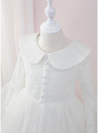Robe Marquise/Princesse Longueur ras du sol Robes à Fleurs pour Filles - Tulle/Dentelle Manches longues Col claudine avec Plissé