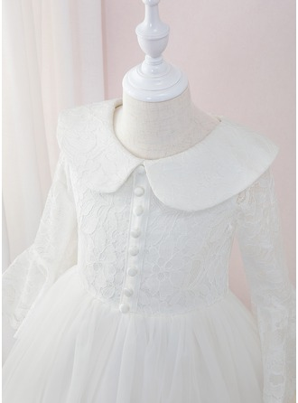 De Baile/Princesa Longos Vestidos de Menina das Flores - Tule/Renda Manga comprida Peter Pan Collar com Pregueado
