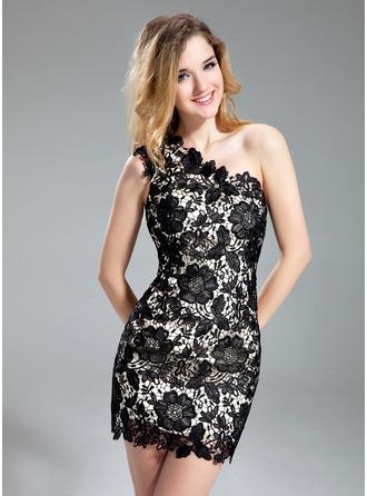Sheath/Column One-Shoulder Short/Mini Lace Cocktail Dress