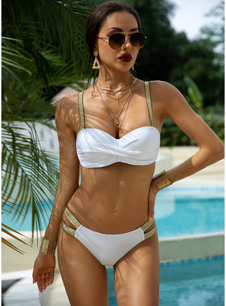 Bikinis Chinlon Einfarbig Push-Up Frauen ja Bademode