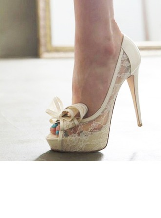 Женщины Кружева Высокий тонкий каблук Открытый мыс Платформа Beach Wedding Shoes с бантом