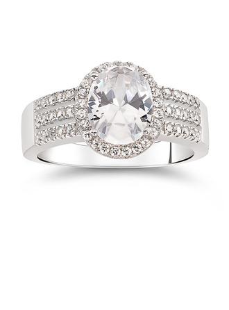 Sterling sølv Cubic Zirconia Halo Pæresnitt Forlovelsesringer Løfteringer - Valentines Gaver
